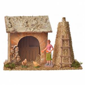 Settings, houses, workshops, wells: Nativity setting, farm house with hens and straw 18x27x12cm