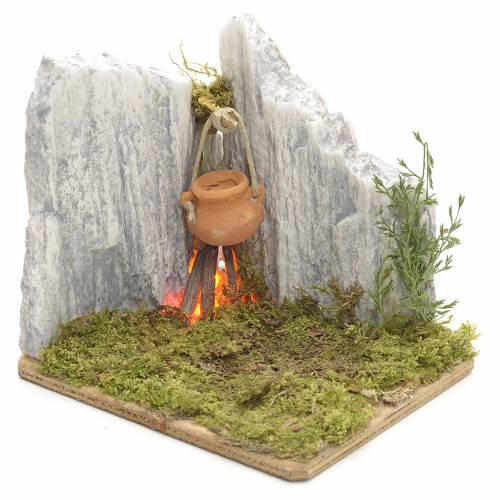 Nativity setting, resin fire in the rocks s1