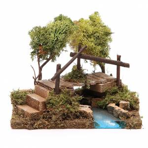 Nativity setting, river with bridge and lichen trees s1