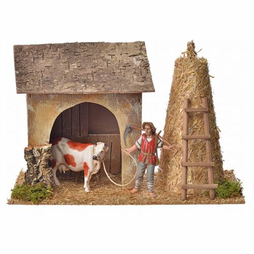 Nativity setting, stable with farmer, cow and straw 20x26x10cm s1