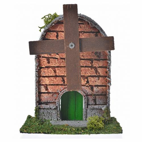 Nativity setting, wind mill in wood and cork with arched roof 12 s1