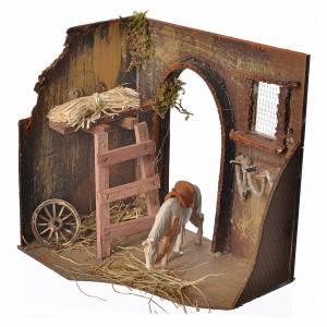 Nativity setting, workshop, manger and horse 20x14x20cm s2