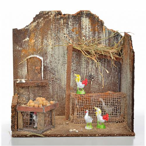 Nativity setting, workshop with hens 20x14x20cm s1