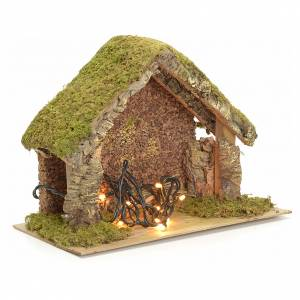 Nativity stable with lights and pointed roof 24x32x18cm s3