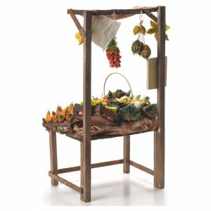 Nativity stall with fruit in wax 41x22x15cm s3