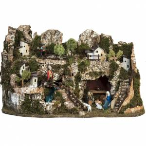 Nativity village with waterfall 74x43x36cm s1