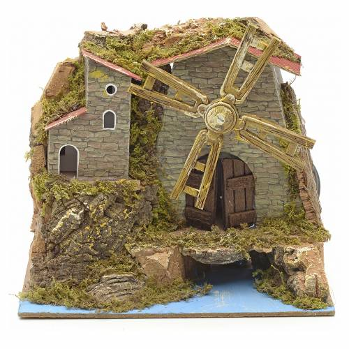Nativity wind mill with river and village 16x18x11cm s1