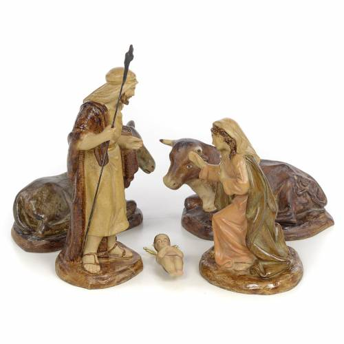 Nativity with 5 pieces, 15cm (burnished decoration) s1