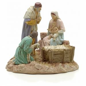 Nativity with shepherd on base, painted resin 16 cm STOCK s1