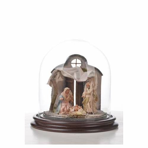 Neapolitan Nativity, Arabian style in glass dome 20x20cm s4