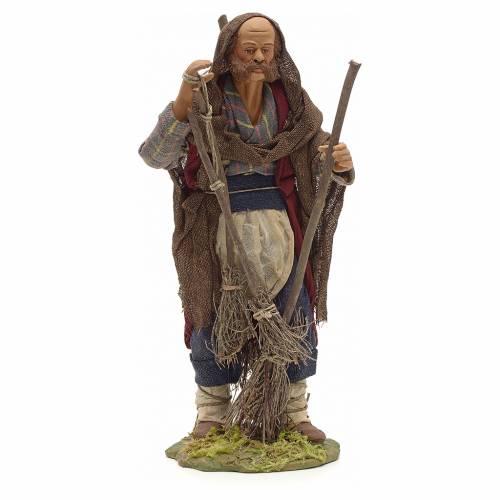 Neapolitan Nativity figurine, man with brooms, 24 cm s1