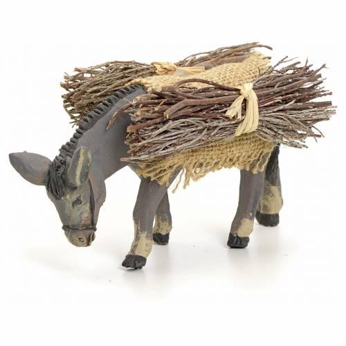 Neapolitan nativity figurine, standing donkey with wood, 8cm s1
