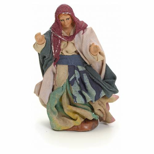 Neapolitan nativity figurine, walking woman, 8cm s1