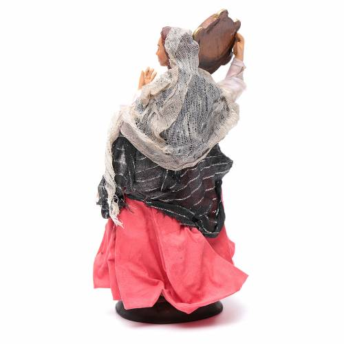 Neapolitan nativity figurine, woman with tambourine 18cm s4