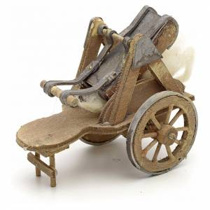 Neapolitan Nativity scene accessory, cart with wool carder s3