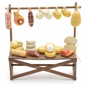 Neapolitan Nativity Scene: Neapolitan Nativity scene accessory, cheese and meat stall 12x11