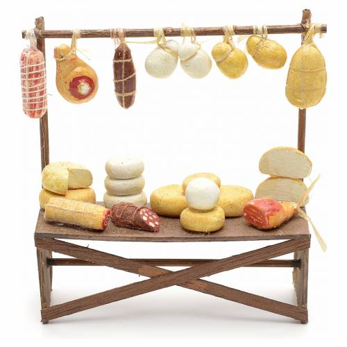 Neapolitan Nativity scene accessory, cheese and meat stall 12x11 s1