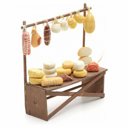 Neapolitan Nativity scene accessory, cheese and meat stall 12x11 s2