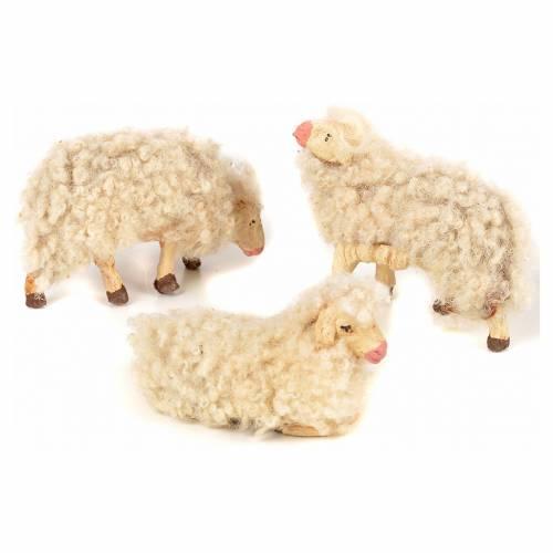 Neapolitan Nativity scene figurine, kit, 3 sheep with wool 12 cm s2