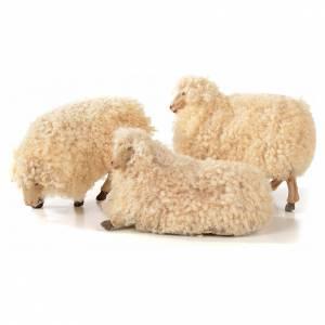Neapolitan Nativity scene figurine, kit, 3 sheep with wool 18 cm s1