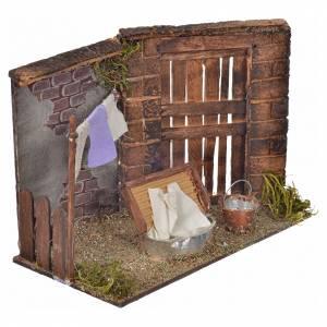 Neapolitan Nativity scene, laundress scene 10,5x15x8cm s2
