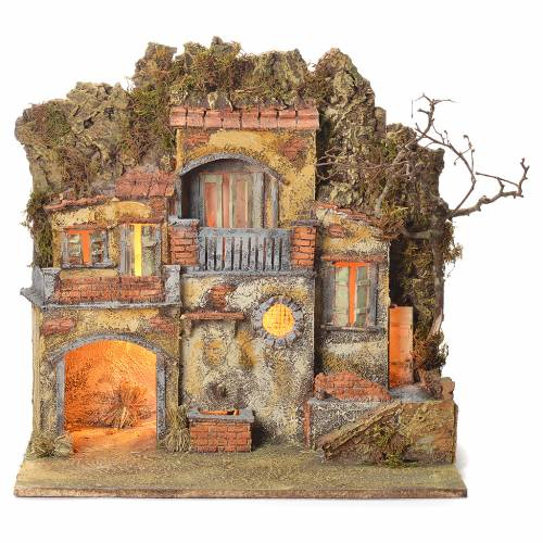 Neapolitan Nativity village with fountain 55x50x35, for 10cm s1