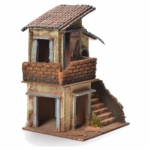 Neapolitan Nativity wooden house 31x20x19cm s2