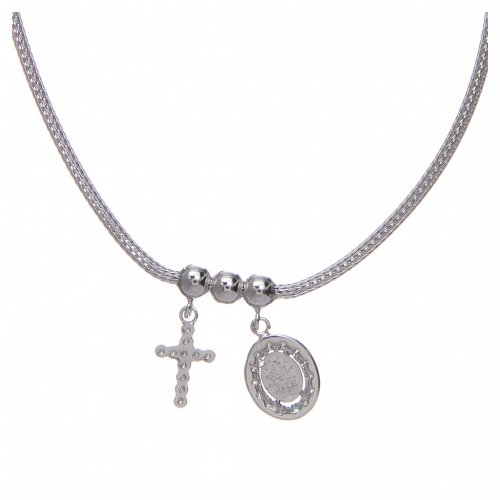 Necklace in in 925 sterling silver finished in rhodium, with Miraculous medalet and a cross with strass s1