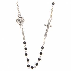 Rosaries and rosary holders: Necklace in steel with black crystal 3mm, Medjugorje