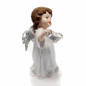 Ángel blanco con acordeón 14 cm. adorno de navidad s2