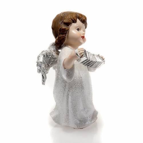 Ángel blanco con acordeón 14 cm. adorno de navidad 2