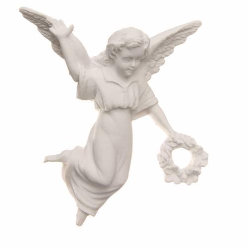 Ángel con corona, 11 cm de mármol sintético s1