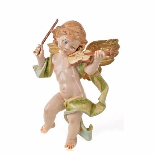 Ángel con violín Fontanini cm. 27 símil porcelana s3