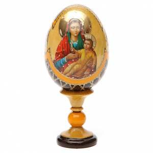 Oeuf bois découpage Russie Kozelshanskaya h 13 cm style Fabergé s1