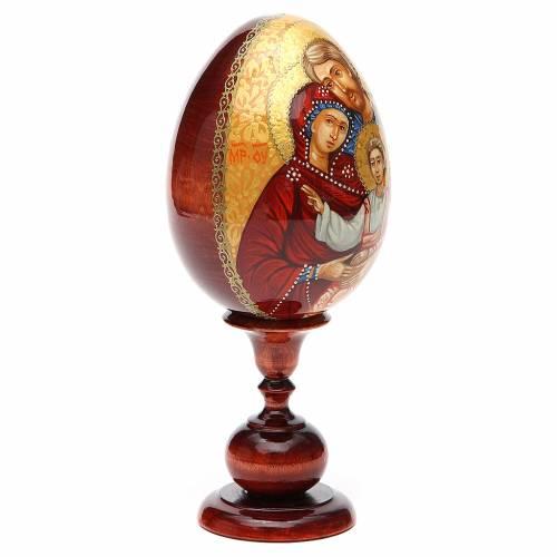 Oeuf icône russe PEINTE À LA MAIN Sainte Famille tot h 20 cm s4