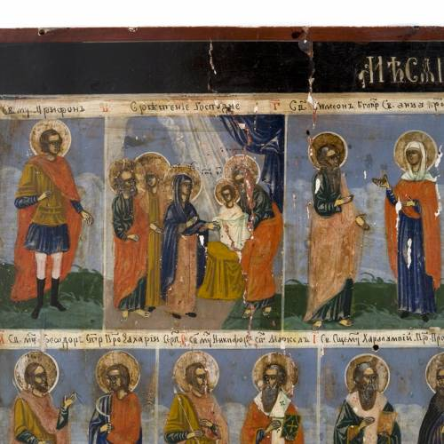 Old Menological Icon, all Saints of February, Mstjora s4