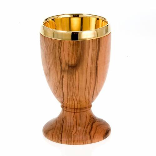 Olive wood chalice with returned edge s1