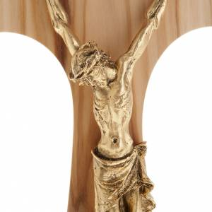 Olive wood tau body of Christ in gilded metal 26 cm s2
