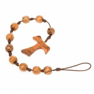 Assisi olive wood rosaries: One decade rosary with noose to hang on belt