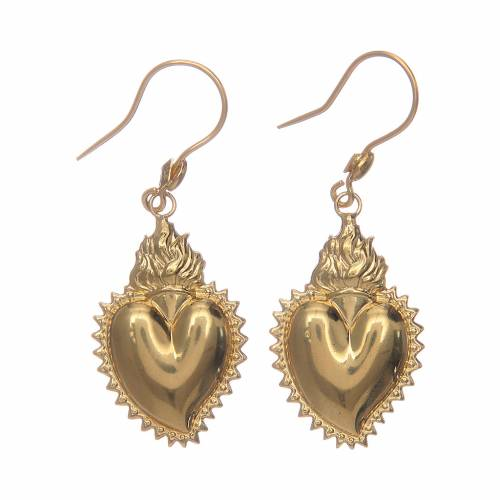Orecchini in argento 925 cuore ex voto dorati s1