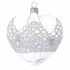Ornement Noël en verre boule coeur dentelle 100 mm s2