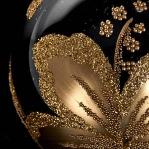 Ornement sapin, boule noire fleur 6 cm s3