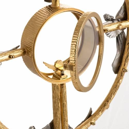 Ostensorio in bronzo dorato con angeli h 60 cm s12