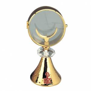 Ostensorio teca ottone cristallo diam cm 11 s1