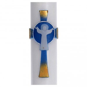 Kerzen: Osterkerze mit EINLAGE auferstanden Christus hellblauen Kreuz 8x120cm
