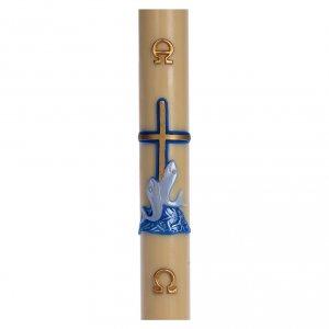 Kerzen: Osterkerze roten Kreuz und Fische blau 8x120cm Bienenwachs