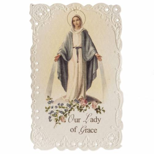 Our Lady of Grace holy card with prayer in ENGLISH s1