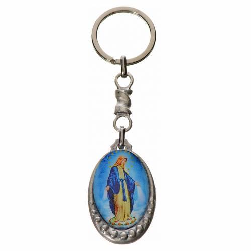 Our Lady of Lourdes Keychain, oval in zamak s1