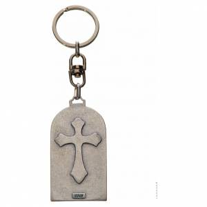Our Lady of Lourdes Keychain, oval in zamak s2