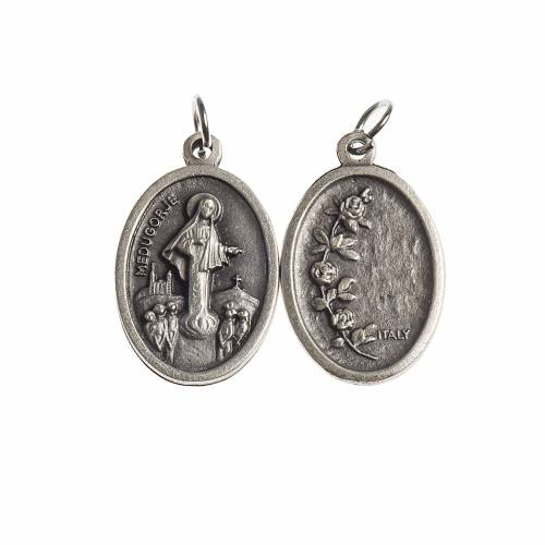 Our Lady of Medjugorje medal, oval, antique silver s1